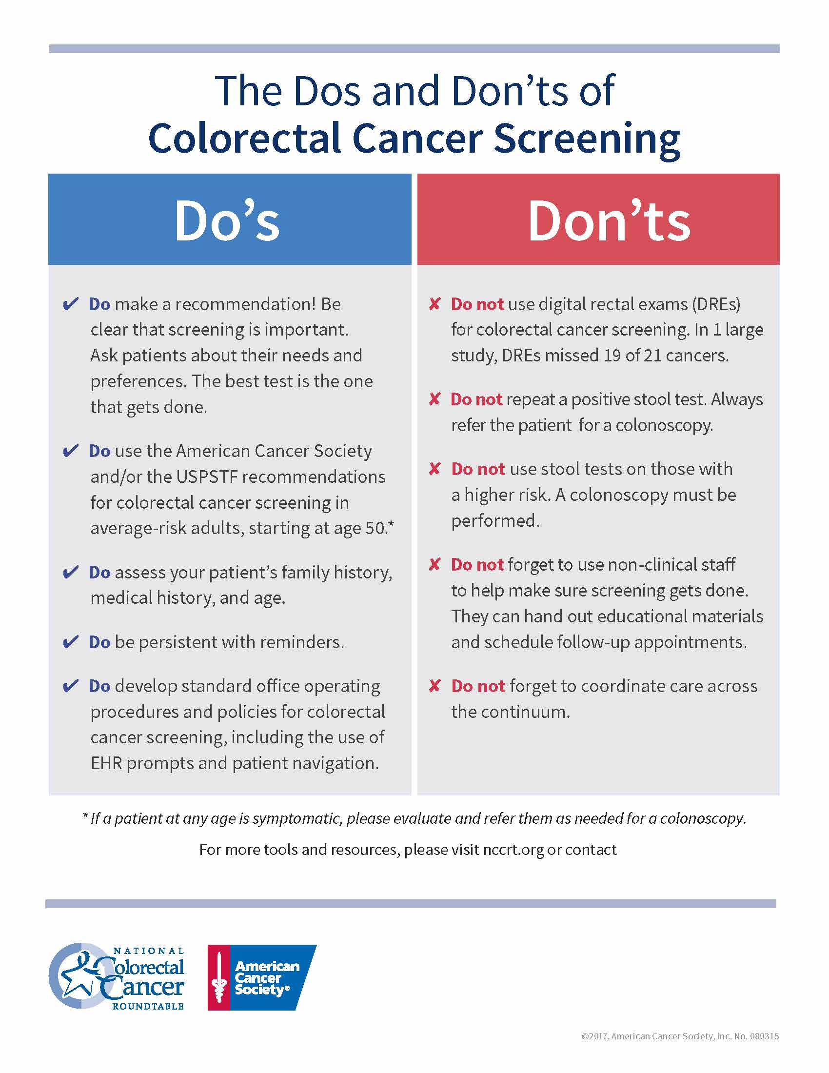 Do Don Ts Of Colorectal Cancer Screening Kansas Academy Of Family Physicians